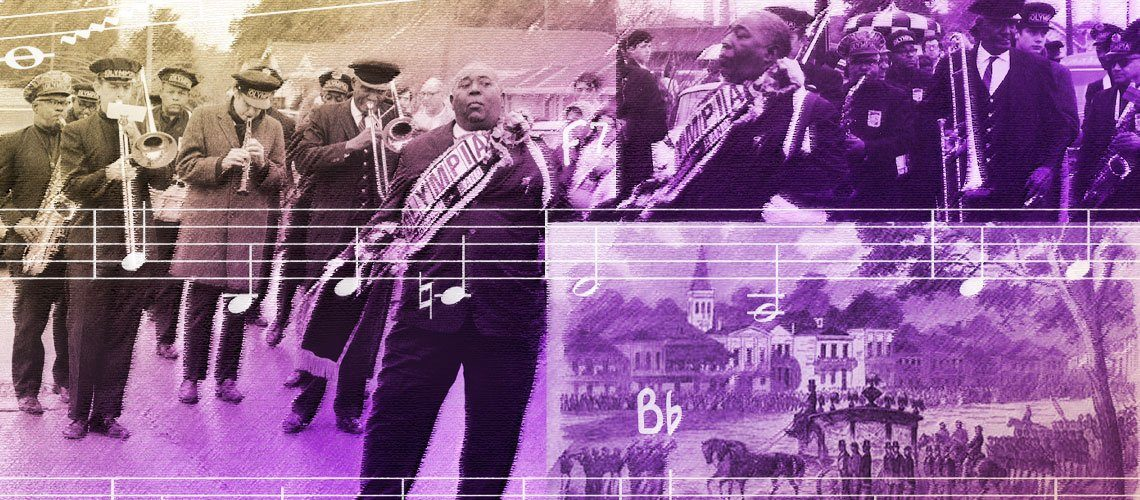 The Olympia Brass Band leads a New Orleans Jazz funeral in this photo montage describing the jazz funeral.
